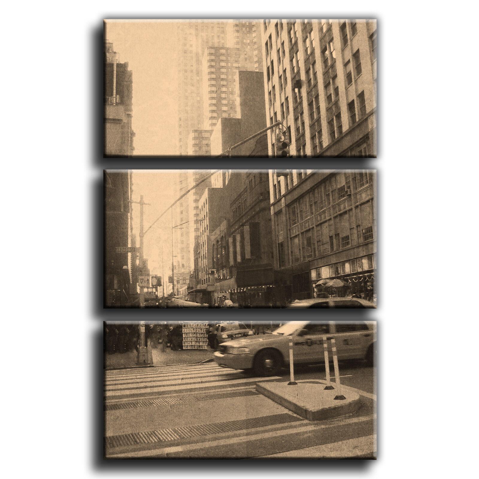 NEW YORK TAXI VINTAGE PAESAGGIO TREBLE TREBLE TREBLE TELA parete arte foto stampa 30 27fdbb
