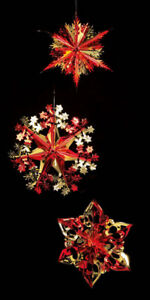 Details About Pub Christmas Ceiling Decoration Star Retro Red Gold 3 Designs 40cm