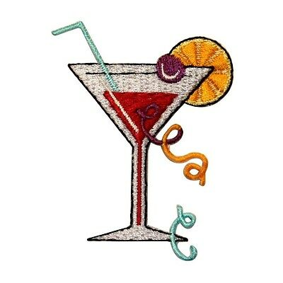 ID 1138 Red Martini Patch Cocktail Mix Drink Glass Embroidered Iron On Applique