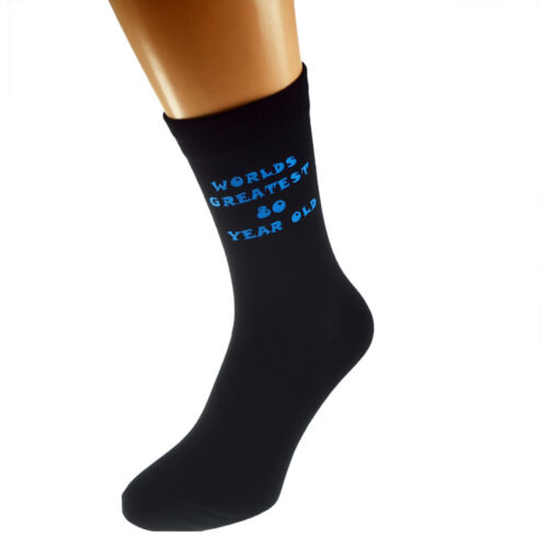 Worlds Greatest 80 Year Old Mens Black Socks Printed in Blue 80th Birthday