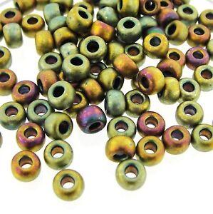 Miyuki Round Rocailles 6//0 Metallic Matte Khaki AB Seed Beads RR-2008
