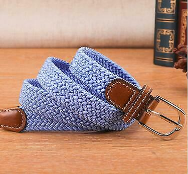 Mens Women/'s Braided Belt Leather Woven Canvas Elastic Pin Buckle Waist Belt New