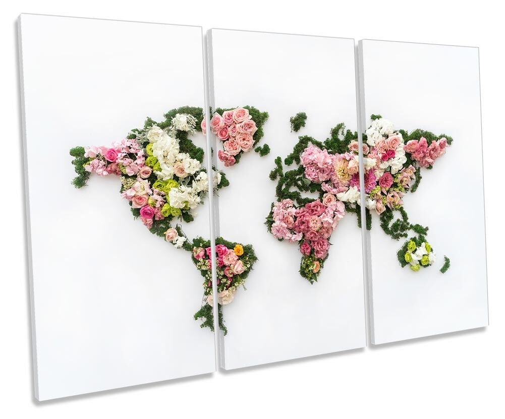 World Map Floral Flowers Picture TREBLE CANVAS WALL ART Print