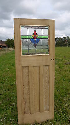 SG11b (27 1/2 x 75 1/2) Original Stained glass pine door from the largest stock