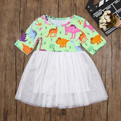 New Baby Girls Toddler Kids Cartoon Floral Dress Clothes Sundress Casual Dresses