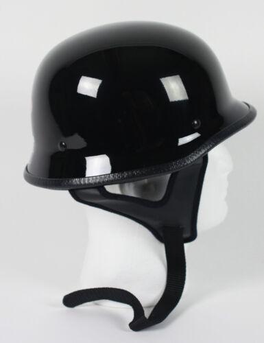 Gloss Black German Motorcycle Helmet DOT Biker Solid Shorty Half S M L XL NEW