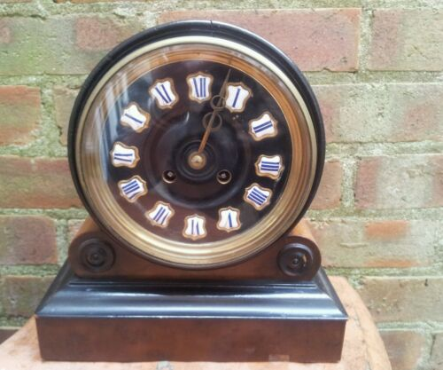 ANTIQUE 1880'S FRENCH BURR WALNUT BARREL STYLE COUNT WHEEL CLOCK