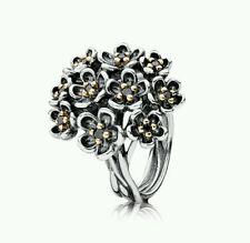 NEW Genuine Pandora Silver/14ct 2 tone Flower Black Spinel Ring Size 54 £275.00