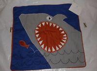 Pottery Barn Kids Shark Jaw Decorative Pillow Cover Blue 16 Sham