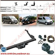 Gancio traino fisso Renault Trafic / Vauxhall Vivaro 01- + kit elettrico 13-poli