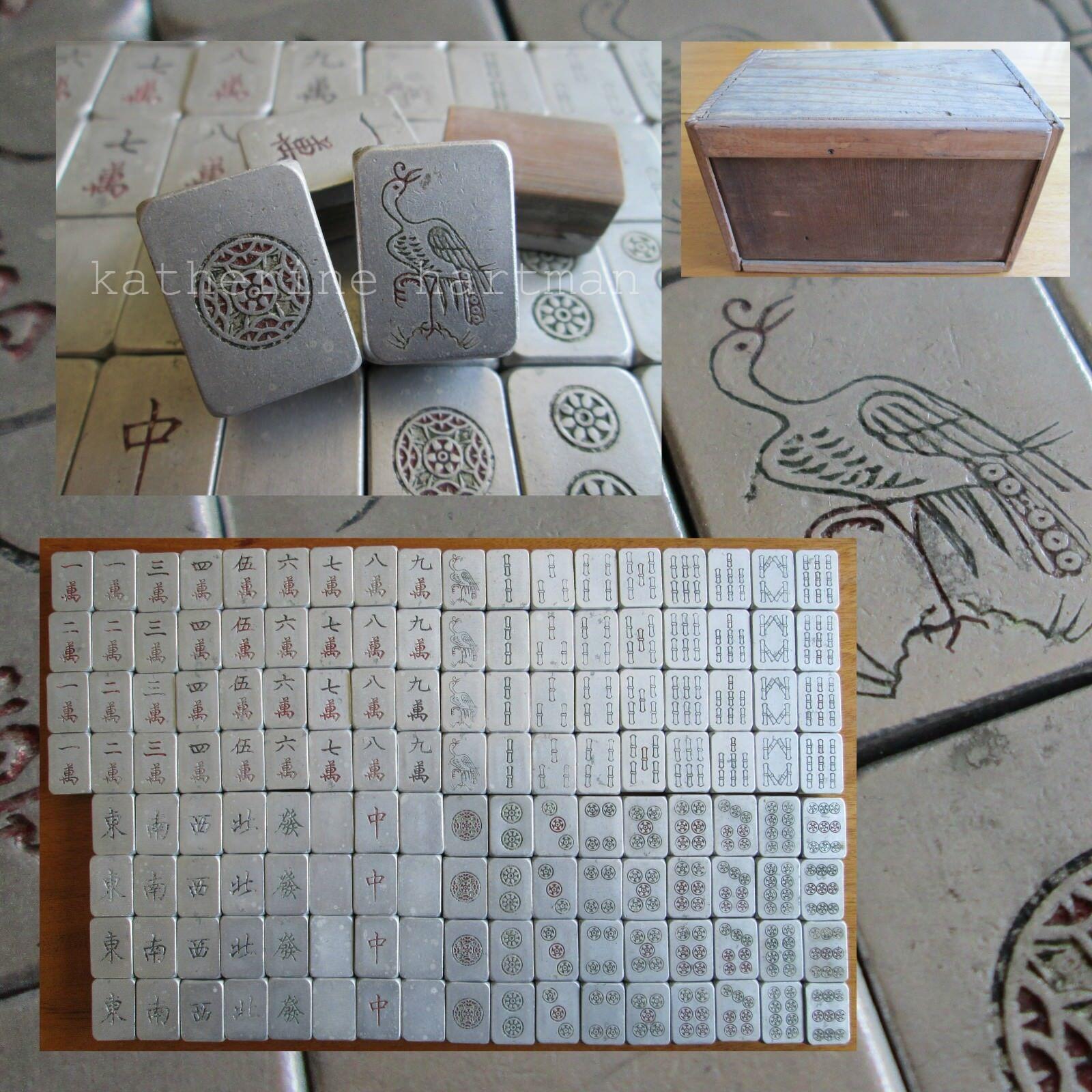 Aluminum & Bamboo 140 Tiles, Vtg 1920s, Mahjong Set Wood Box, Japanese Mah Jongg