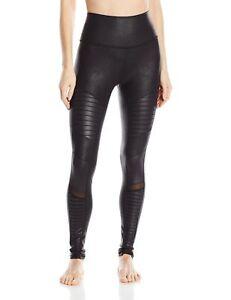 ce2ef0969 Alo Yoga Women s High Waisted Moto Legging Black Performance Leather ...