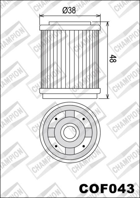 COF043 Filtro De Aceite CHAMPION YamahaXT1251251988 1989 1990