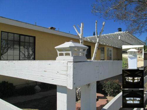"""1-Pk Solar Off White Post Deck Fence Cap Light for 5/""""X5/"""" Vinyl//PVC or Wood Post"""