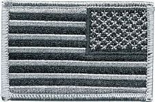 American Reverse Flag Morale USA US Army Military Hook & Loop Patch Silver Black
