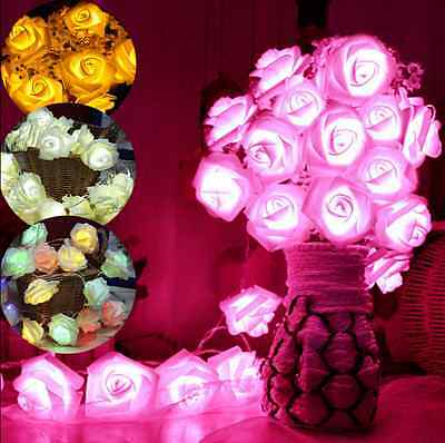 2M 20 LED Rose Flower Fairy Wedding Garden Party Xmas Home Decor String Lights