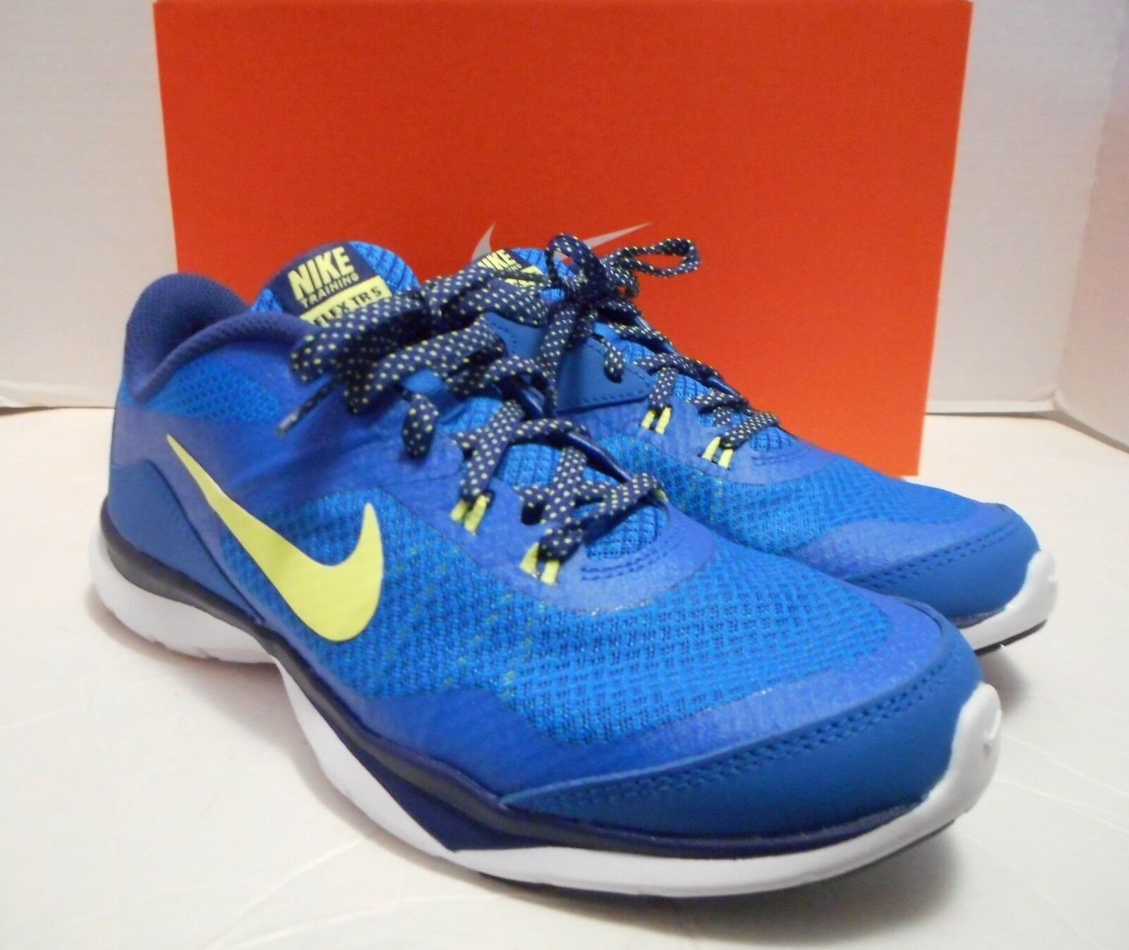 NIB Womens NIKE Flex Trainer 5 Blue/Lime Athletic Shoes Sizes 6.5, 7, 7.5, 8