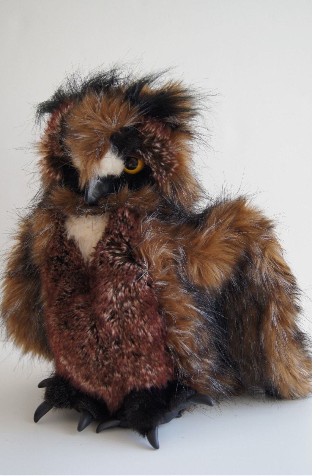NEW Folkmanis Great Horned Owl Full Hand Puppet Plush Toy