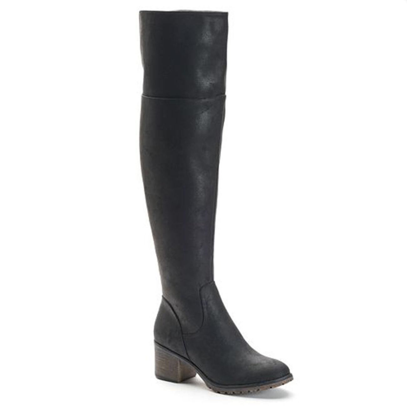 NEW SO Women Size 6-10 $90 Boots Thigh High Over The Knee Platform Black Zipper