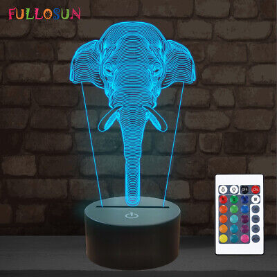 Elephant 3d Illusion Lamp 16 Colors Led Night Light With