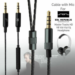 Replacement-Mic-Cable-For-Sol-Republic-Master-Tracks-HD-V8-V10-V12-X3-Headphone
