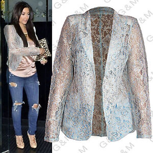 NEXT-Blue-Beige-Lace-Blazer-Jacket-Summer-Casual-Party-Top-Formal-Womens-Ladies