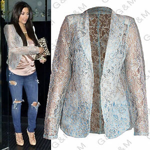 Next Blue Gold Lace Blazer Jacket Summer Casual Party Cardigan ...