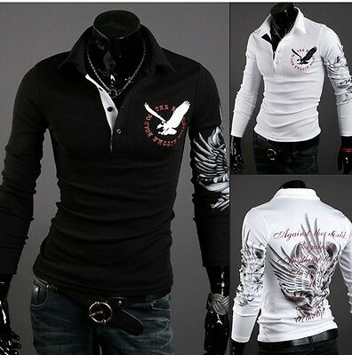 Vintage Men's Casual Trendy Slim-Fit Tattoo Graphic Printed Design Polo T-Shir