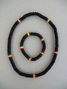 100% Wahr Sale !!! 2er Set Kette Armband Halskette Rasta Reggae Rastakette Rastaarmband