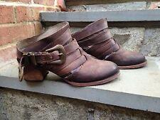 EUC Free People X Freebird By Steven Lucky tan boots 10 Mule Strappy Ankle Heel