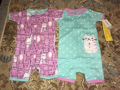 Carter's Baby Girl 2 Pack Kitty Cat Rompers Size 18 Month 18m NWT
