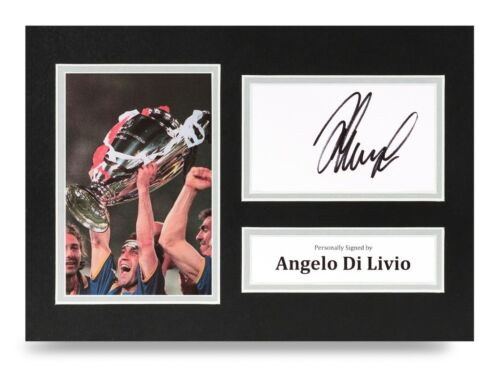 Angelo Di Livio Signed A4 Photo Display Juventus Autograph Memorabilia + COA