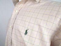Polo by Ralph Lauren Mens Shirt Size Large Westerton Beige Check Pony Cotton