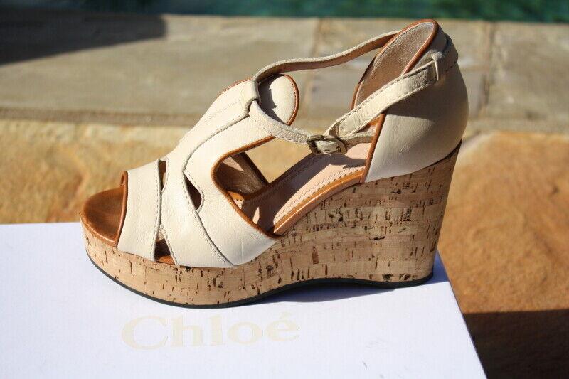 Chloe korkens sandaler 120 teak vit bspringaaa IT 37 1 1 1  2 US 7  2.5 NIB  690  försäljning med hög rabatt