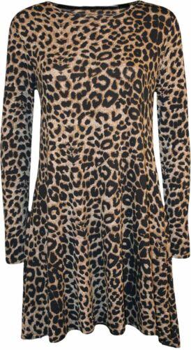 LADIES PRINTED MINI SWING DRESS LONG SLEEVE FLARE FLORAL TARTAN ANIMAL 8-20