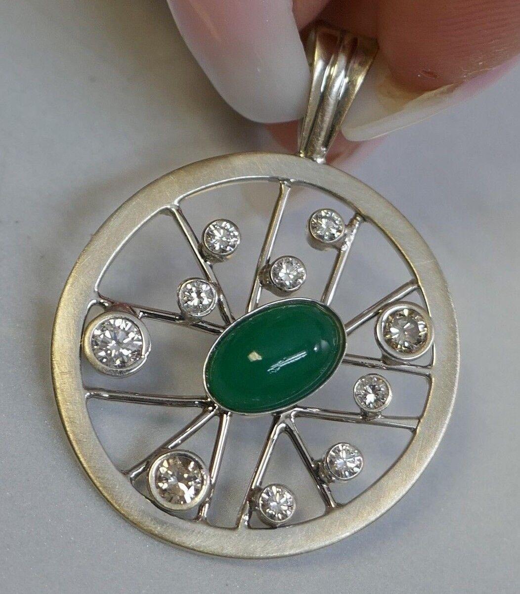 Modernist Style 18K White gold Diamond & Art Glass Pendant