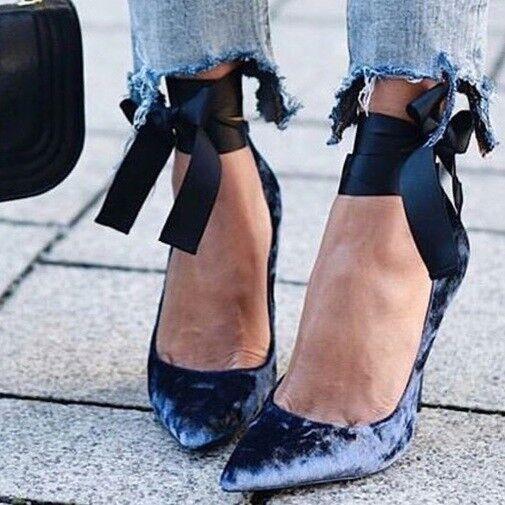 ZARA NAVY Blau VELVET STILETTO HIGH HEEL COURT Schuhe/ BALLET PUMPS 1202/201 37 4