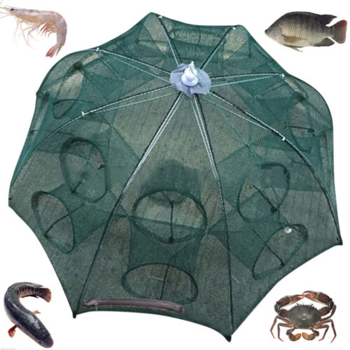Automatic River Fishing Hole Net Shrimps Cage Nylon Foldable Crab Fish Trap