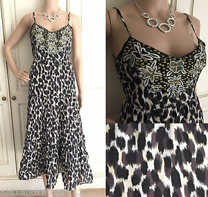 NEW-EX-MONSOON-ANIMAL-PRINT-BROWN-BLACK-WHITE-TIERED-SUMMER-DRESS-8-18