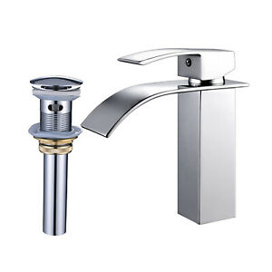 Chrome-Bathroom-Basin-Sink-Faucet-Single-Hole-Mixer-Tap-Deck-Mount-With-Drain