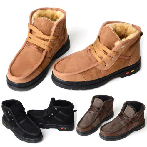 Mens leather Sherpa fleece Fur Lined Ankle boots winter warm snow Thermal shoes