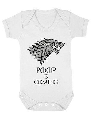 Poop Is Coming Funny Game of Thrones Stark Boys Gift Baby Vest Grow Bodysuit