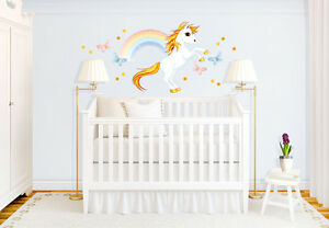 wandtattoo einhorn mit regenbogen wandaufkleber kinderzimmer wandsticker m dchen ebay. Black Bedroom Furniture Sets. Home Design Ideas