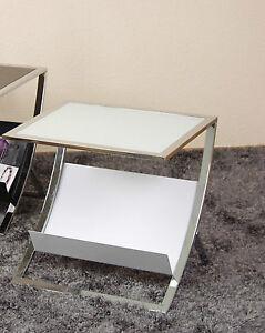 Beistelltisch Weiß Tisch Glastisch Couchtisch Glas Beitisch Modern