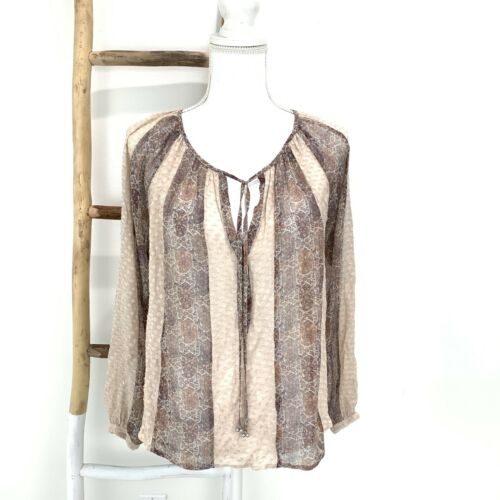 L'Agence Blouse Size S Peasant Top Blush Brown Met