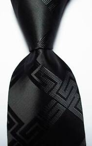 New-Classic-Black-Checks-JACQUARD-WOVEN-100-Silk-Men-039-s-Tie-Necktie