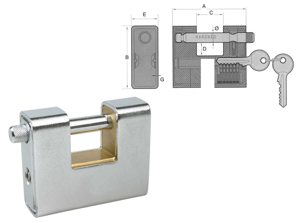 IBFM Vorhängeschloss Messing Gepanzert 80x3MM Bolzen Stange gehärtet 11MM  | Kostengünstiger  | eine große Vielfalt  | Komfort  | Shopping Online