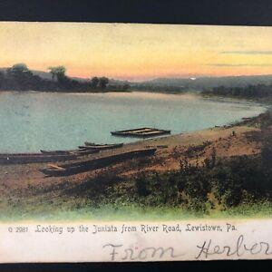 PA Postcard River Road LEWISTOWN PA Vtg Mifflin County Antique 1909 Vintage Old