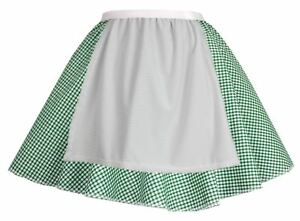 Ladies-Green-Gingham-Skirt-w-Apron-Oktoberfest-Bavarian-Fancy-Dress-Beer-Maid