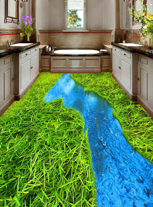 3D Creek Grass 4363 Floor WallPaper Murals Wallpaper Mural Print AJ AU Lemon